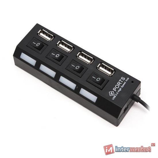 Концентратор USB Deluxe DUH4004BK, черный